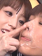 Japanese sperm lesbians do some very messy cum swapping